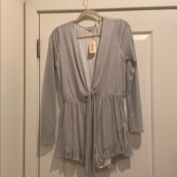 Forever 21 Other - Silver long sleeve tie front romper